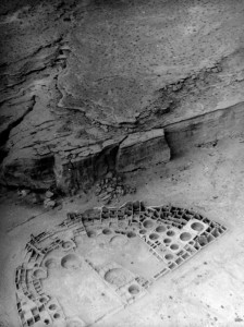 Pueblo Bonito Ruin in Chaco Canyon, NM (photo taken by Charles Lindbergh) Image courtesy of Palace of the Governors Photo Archive, Santa Fe, NM